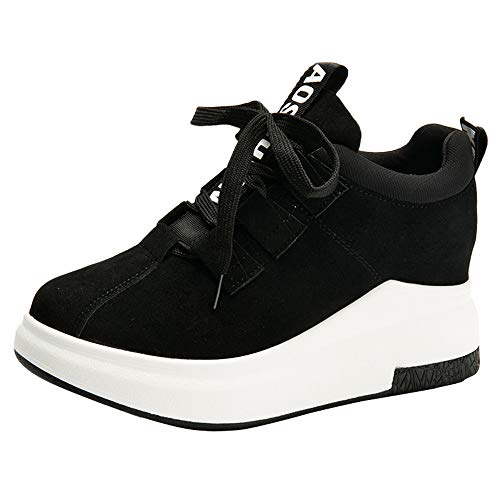 Luckhome Laufschuhe Damen Socken Damen Hausschuhe Damen Yoga Damen Sneaker Schuhe Frauen Casual Outdoor Flache Sportschuhe Dickbesohlte Plattform Atmungsaktive Turnschuhe(Schwarz,EU:39)