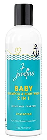 7 Jardins Unscented Natural Baby Shampoo And Wash - 2 In 1 Soothing For The Hair And Body 8 Oz. Gentle For Children Of All Ages - Safe And Sulfate
