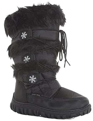 New Ladies Womens Warm Winter Padded Lined Flat Fur Moon Rain Snow Winter Knee Boots Size 3 - 8 new