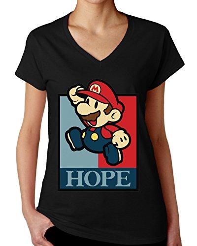 Super Mario Hero Old School Game Graphic Design Women's V-Neck T-Shirt XX-Large