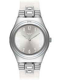 Swatch YLS177 - Reloj para mujeres, correa de cuero color blanco