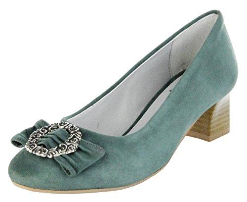 Bergheimer Trachtenschuhe Trachten Pumps moos grün Leder Ziegenvelour Damen  Schuhe Rosi Grün 43dbf35182