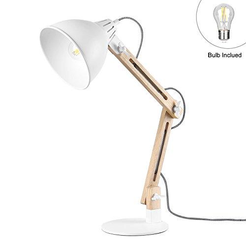 Viugreum- lampada da tavolo in legno regolabile, lampada da scrivania design moderno non trema frassino chiaro [lampadina inclusa e27 7w led 720 lm] [cavo 1,60m altezza 55 cm] (bianca)