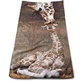 vintage cap Giraffe, Mother Love Kitchen Towels - Dish Cloth - Machine Washable Cotton Kitchen Dishcloths,Dish Towel & Tea Towels for Drying,Cleaning,Cooking,Baking (12 X 27.5 Inch)