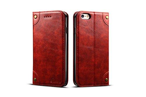 Retro-Lederschutzhülle für Apple iPhone 6/6S, Kartenfächer, Standfunktion, strapazierfähig, Unisex, für Männer und Frauen, rot - Ny Giants Tragen