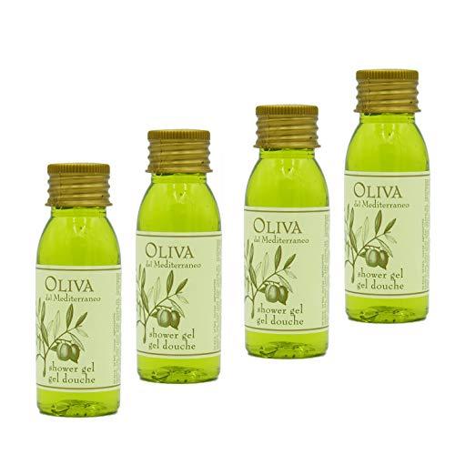 Awek.eu 100 Stück Hotel Duschgel mit Olivenöl Flasche 30ml Oliva Serie