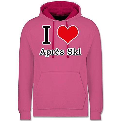 Après Ski - I love Après Ski weiße Kontur - Kontrast Hoodie Rosa/Fuchsia