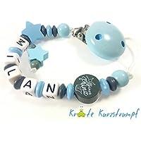 Schnullerkette mit Name für Jungen mit Sternen und Motivperle `Kleiner Prinz`- blau, anthrazit