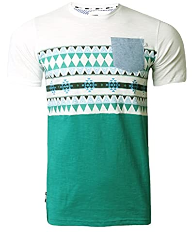 Mens T-Shirt D Code Aztec Print T-Shirt Short Sleeved Top Summer 1C2679 Peacock Green L