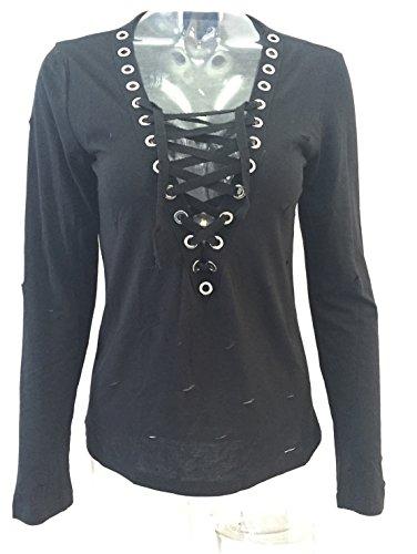 Damen-Art Und Weise Hemden V-Ansatz T-shirt Cross strap Oberteile Hohl vest Einfarbig Blusen Langarmig Pulli Schwarz