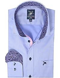 Marc Montino Herren Langarm Hemd Modern Fit Blue 100% Schweizer Baumwolle edd8cf569f