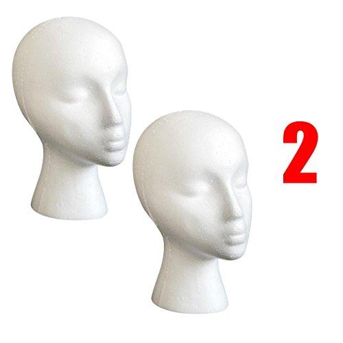 Trainingsköpfe, OverDose 2PC Styropor Schaum Mannequin weiblichen Kopf Modell Perücke Gläser Hut Display Stand schminkkopf übungskopf