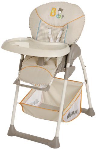 Hauck Sit'n Relax Newborn Set - Neugeborenen Aufsatz und Kinderhochstuhl ab Geburt, mit Liegefunktion / inkl. Spielbogen, Tisch, Rollen / höhenverstellbar, mitwachsend, klappbar, bear (Beige)