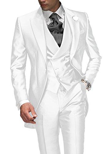 0f8769b72475 Suit Me Tailored Herren 3-Teilig Anzug Fuer Hochzeiten Party Smoking Anzug  Sakko,Weste,Hose Weiss L