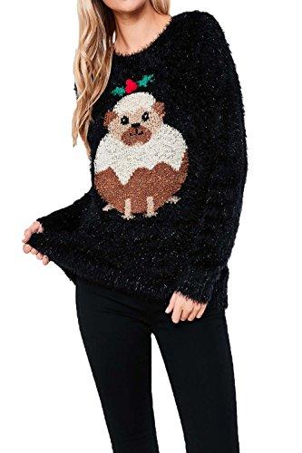 Damen Heart & Soul Pailletten 3D Weihnachten Wimper Strick Pullover Damen verziert Festliche Weihnachten TOP steckt fest in Mops - schwarz