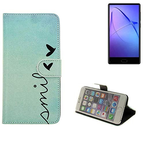 K-S-Trade® Für Leagoo KIICA Mix Hülle Wallet Case Schutzhülle Flip Cover Tasche Bookstyle Etui Handyhülle ''Smile'' Türkis Standfunktion Kameraschutz (1Stk)