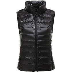 LANBAOSI Lightweight Gilet Duvet de Canard Veste de Sport sans Manches Femme Printemps ou Automne Compressible Casual Blouson Casual Noir Medium