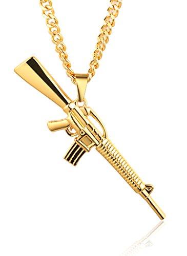 Halukakah ● GANG ● Männlich 18k Stempel Reines Gold überzogene Gewehr hängende Halskette mit multi geschnittener kubanischer Kette 30