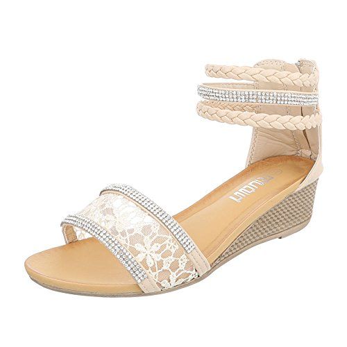 Keilsandaletten Damenschuhe Plateau Keilabsatz/ Wedge Keilabsatz Reißverschluss Ital-Design Sandalen / Sandaletten Beige