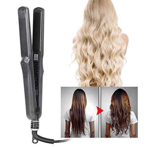 Plancha de pelo | Plancha para el peinado | Alisado profesional y rizos con placas de cuidado del cabello de titanio y temperatura ajustable (rizado o alisador)(# 1)