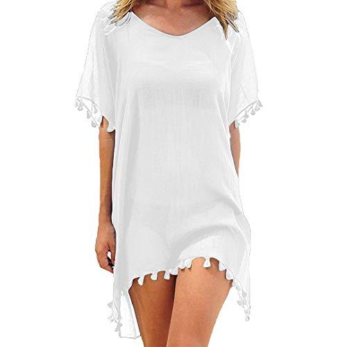 Damen Fransen (heekpek Damen Strandkleid Sommerkleid Bikini Cover Up Fransen Strandkleid Sommer Bademode Longshirt Tunika Strandponcho)