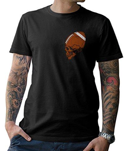 Football Skull T-Shirt mit Front- und Rückenprint im angesagten Totenkopf-Design American Gr. S-5XL