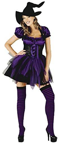 Mix lot Frauen new Halloween eingestuft flippige Hexe Outfit Damen reizvolle Strümpfe und Hut Fancy Parteikostüm Mädchen böse Hexe Minikleid Größe S / M / L / XL (Klein, Lila (Kostüme Hexe Funky)