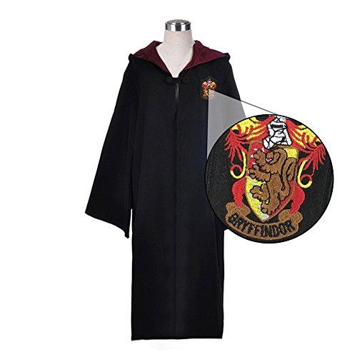 ytherin Robe Harry Potter Kostüm schwarze lange Umhang mit Kapuze (XXL, rot) (Slytherin Mädchen Kostüme)