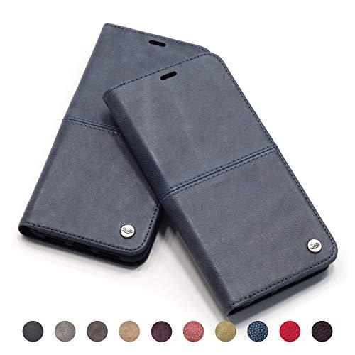 QIOTTI - iPhone 8 Plus I iPhone 7 Plus Tasche Leder Case I RFID NFC Schutz I Ledertasche Kartenfach Standfunktion Echtleder Hülle Lederhülle Ledercase Handyhülle Echtledertasche in Blue