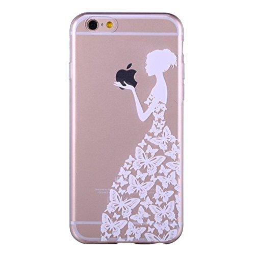 iPhone 6/6S Plus 5.5 Case TPU Gomma Morbida Trasparente Silicone Ultra Sottile Slim Disegno Personalizzato Cartoni Animati (Giraffa) Ragazza di farfalla bianco