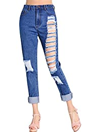 Women Boy Ripped Leg Slim Fit Denim Jeans pour taille haute Jean Pantalons