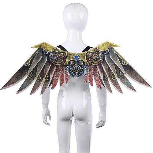 Nwlzx Halloween Cosplay Karneval Dinosaurio Drachen Kostüm-Erwachsen-Eagle-Flügel, Regenbogen-Flügel, Steampunk Flügel, Dämon Knochen Flügel, Dekoration Zubehör-C-L