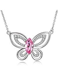 Argent sterling 925 Cristal Rose Papillon Collier Découpe Pendentif  Papillon avec cristal de Swarovski, bijoux 1e6e82b37154