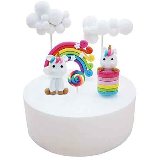 Nuage Arc En Ciel Gâteau à La Licorne Décoration De Gâteau Cake Topper Pour Les Enfants Garçons Et Filles Fête Danniversaire Un Ensemble De 6