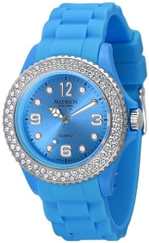 Madison New York - SU4101X - Montre Mixte - Quartz Analogique - Cadran Turquoise - Bracelet Silicone Turquoise