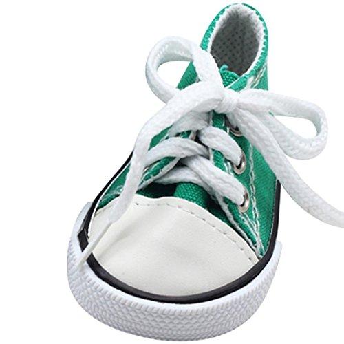 Kinder Spielzeug, Leinwand Lace Up Sneakers Schuhe für 18 Zoll Unsere Generation American Girl & Boy Puppen vorgeben Spielen Spielzeug Geschenke (Army Green, 7cm*4cm)