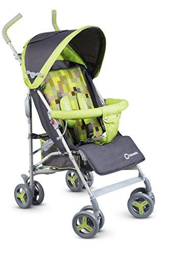 Lionelo Elia Buggy klein zusammenklappbar Kinderwagen, ab 6 Monaten bis 15 kg belastbar, Moskitonetz, Fußdecke, Regenschutz (Grün)