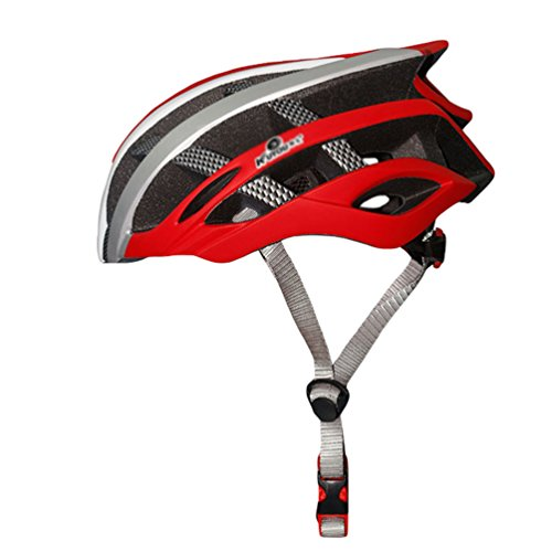 Yuncai Erwachsene Leicht Mountainbike Helm Atmungsaktiv Gemütlich Outdoor Sports Schutzhelm Rot Weiß Silber 57-62CM