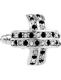 MFYS Damen Classic Halbmond Form schwarz und weiß Crystal Jewelry Manschettenknöpfe für Herren ein Paar