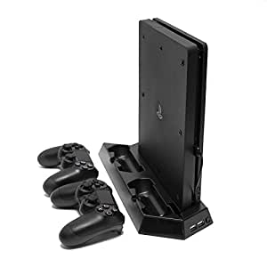 Microware: Vertical Stand with Cooling Fan, Dual Charging station, Dual USB hub for PS4 Slim (Black)