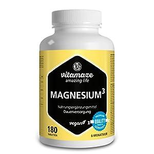 Magnesium³ Komplex 350mg elementares Magnesium 180 Tabletten vegan – Magnesium-Citrat + Magnesium-Carbonat + Magnesium-Oxid - Beste Bioverfügbarkeit ohne Magnesiumstearat