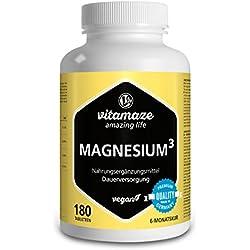 Vitamaze® Magnesio³ Complejo de 350 mg magnesio elemental 180 comprimidos vegano - óxido de carbonato de citrato de magnesio - sin estearato de magnesio