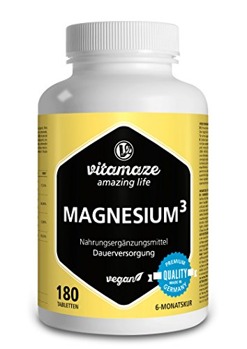 Magnesium³ Komplex 350mg elementares Magnesium 180 Tabletten vegan – Magnesium-Citrat + Magnesium-Carbonat + Magnesium-Oxid - Beste Bioverfügbarkeit ohne Magnesiumstearat (Magnesium Ergänzung In Bio)