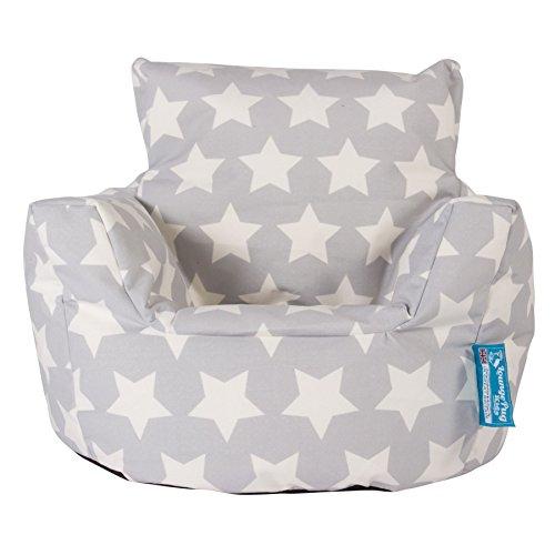 Lounge Pug, Kindersessel Sitzsack, Sitzsack Kinder, Druck Grau Star