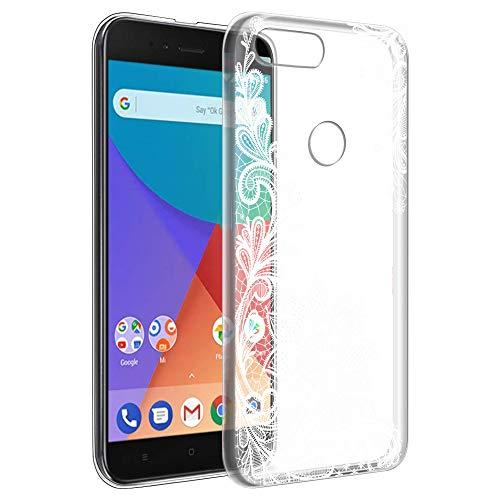 Eouine Funda Xiaomi A1, Cárcasa Ultrafina Silicona 3D Transparente con Dibujos Impresión Patrón [Antigolpes] Housse Fundas para Movil Xiaomi Mi A1 / Xiaomi Mi 5X 2018-5,5 Pulgadas (Flor Blanca)