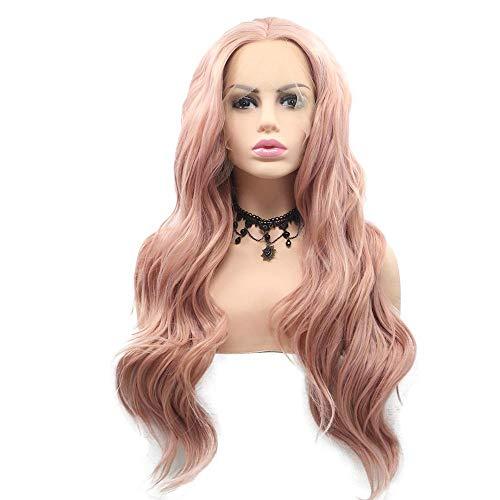Weiche volle Perücken Peach Pink Water Wave synthetische Lace Front Perücken Mittelscheitel natürliche halbe Hand gebunden hitzebeständige Faser Haar für Frau, 26 Zoll für verschiedene Hautfarben Peach Pink Lace