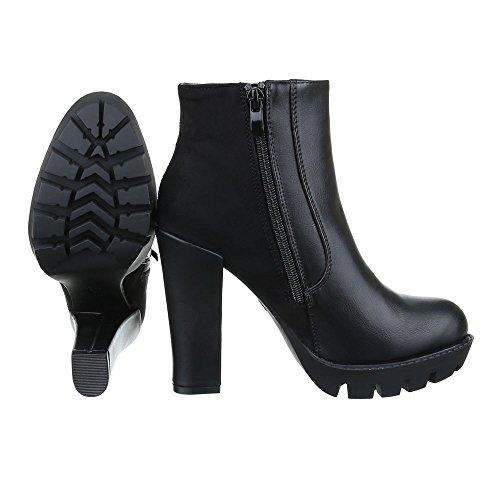 High Heel Stiefeletten Damen Schuhe Schlupfstiefel Pump Strass Besetzte Reißverschluss Ital-Design Stiefeletten Schwarz