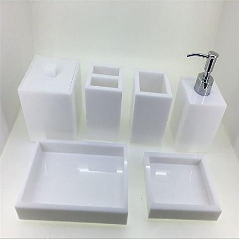 immi-living Bianco Acrilico Set 6Pezzi Accessori Bagno