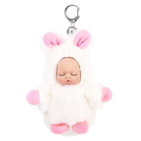 AOKE Mini Sleeping Baby Flauschige Puppe mit Schlüsselbund Adorable Weiß