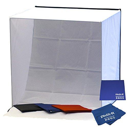 Phot-R 60 cm Professionelle Fotografie Mobile Fotostudio Lichtwürfel Zelt Softbox mit 4 farbige Hintergründe (schwarz/blau/rot/weiß) und Tragetasche schwarz + Microfibre & Chamois Tuch